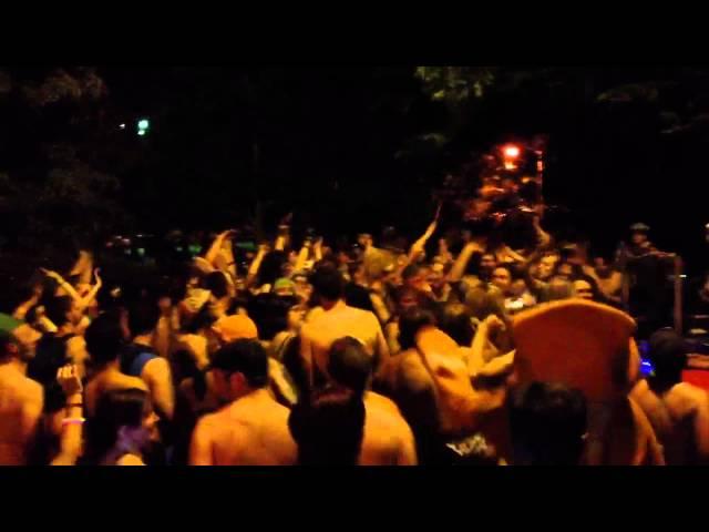 Chicago 2012 Naked bike ride dancing in OZ Park June 9 2012