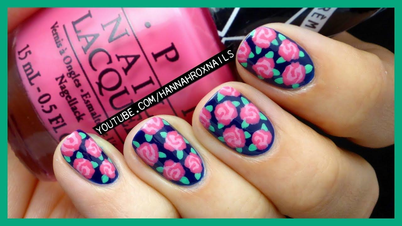easy rose print nail art