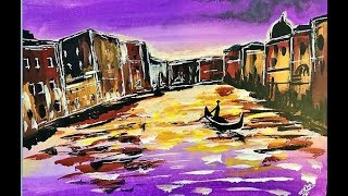 How to paint VENICE at sunset . Painting Tutorial Gondola Step by Step in acrylic for beginners