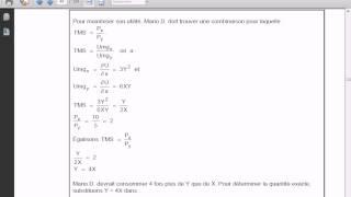 Microéconomie Exercice 1  (  S1 Consommateur  )