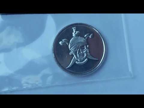 """""""Pirate"""" Design / 1 Gram .999 Fine Silver Bullion Round Unenveloping!!!"""