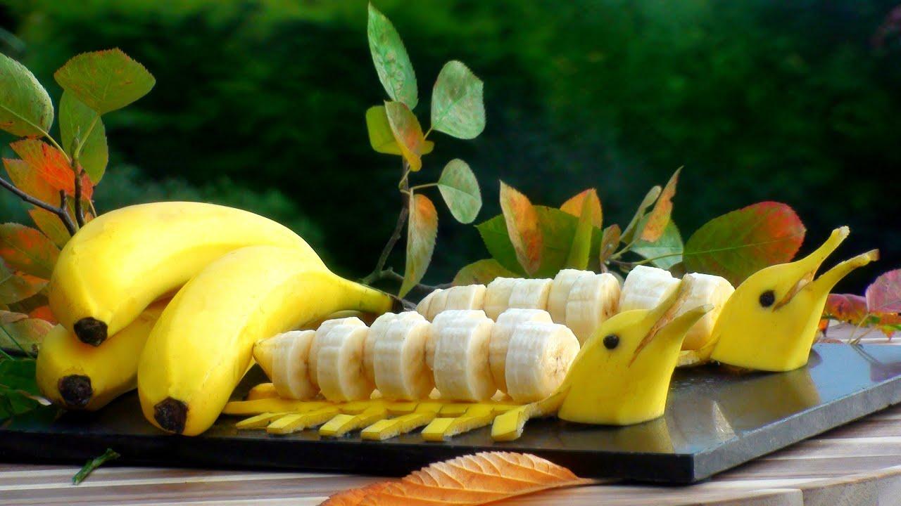 香蕉做成 海豚水果拼盘 可愛香蕉海豚的做法大全 香蕉藝術 水果雕刻技法步步学 创意水果拼盘雕刻 家宴