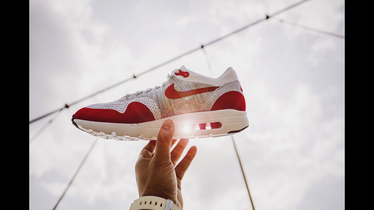 66a51f800d1b2 Nike Air Max 1 Ultra Flyknit Sport Red - Up Close and On Feet Review ...