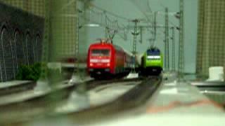 Europe Rail  Modelleisenbahn HO BLS- Cargo Re485 Ausweichbahnhof  ausweichen. DB101 InterCity zug ②