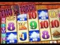 TIKI TORCH   Aristocrat - Retriggered! Max Bet Nice Win! Slot Machine Bonus