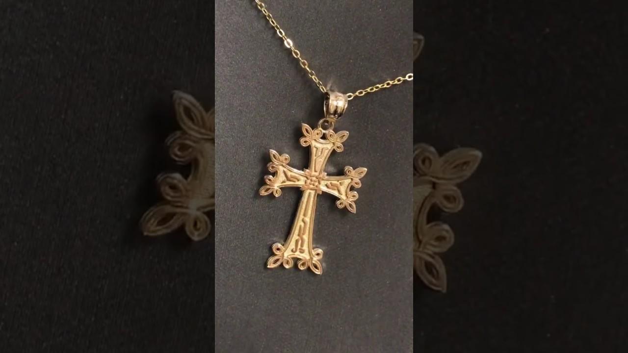 d47bd20a207c1 White Gold Armenian Reversible Cross Pendant Necklace