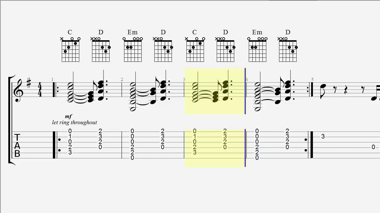 Guitar Tab - Chords - Closer - The Chainsmokers - YouTube