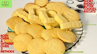 SIMPLE BISCUITS RECIPE - 3 INGREDIENTS (2 STYLES)/ NO OVEN & WITH OVEN BAKED HOMEMADE BUTTER COOKIES