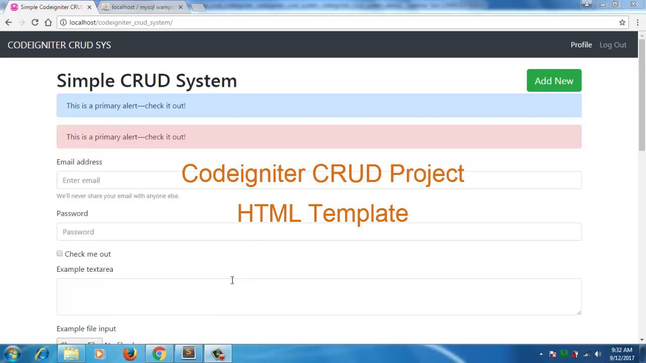 Codeigniter CRUD project bootstrap 4 cutting HTML template part 3
