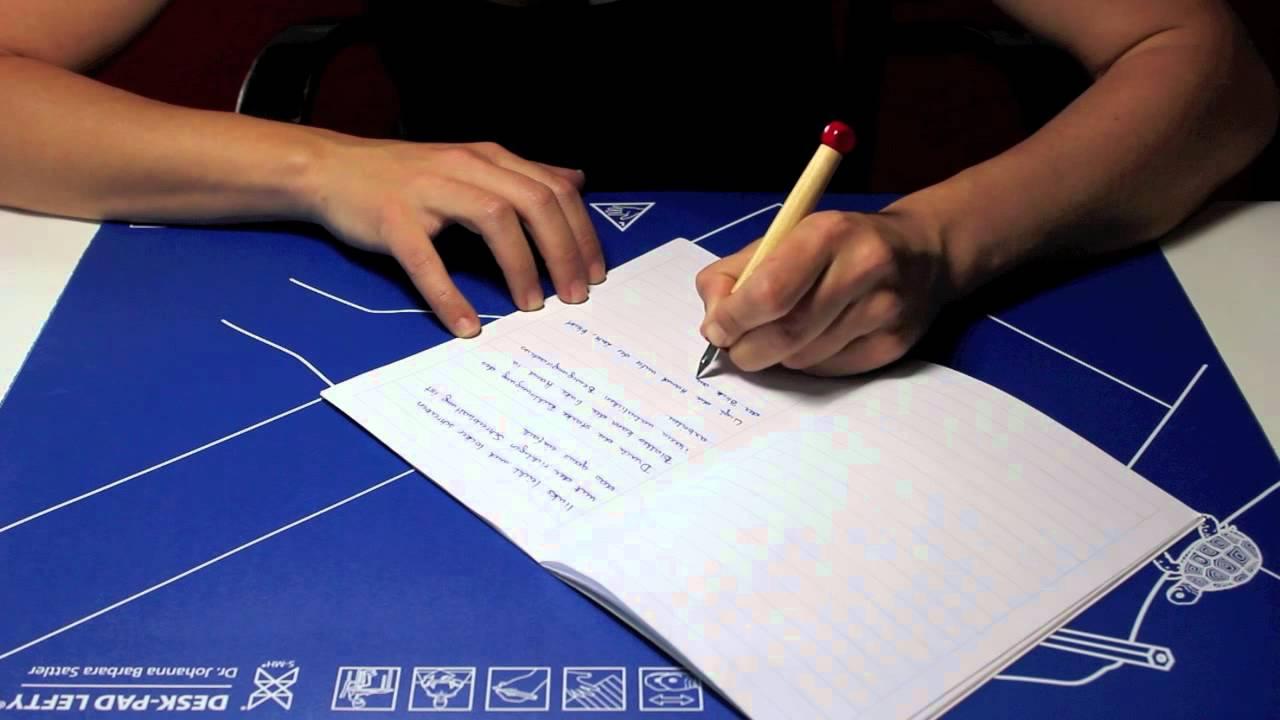 Schreibhaltung für Linkshändige/writing posture for lefthanders