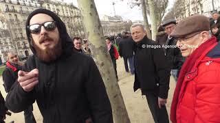 Des anarchistes chassés par des retraités. Paris/France - 15 Mars 2018