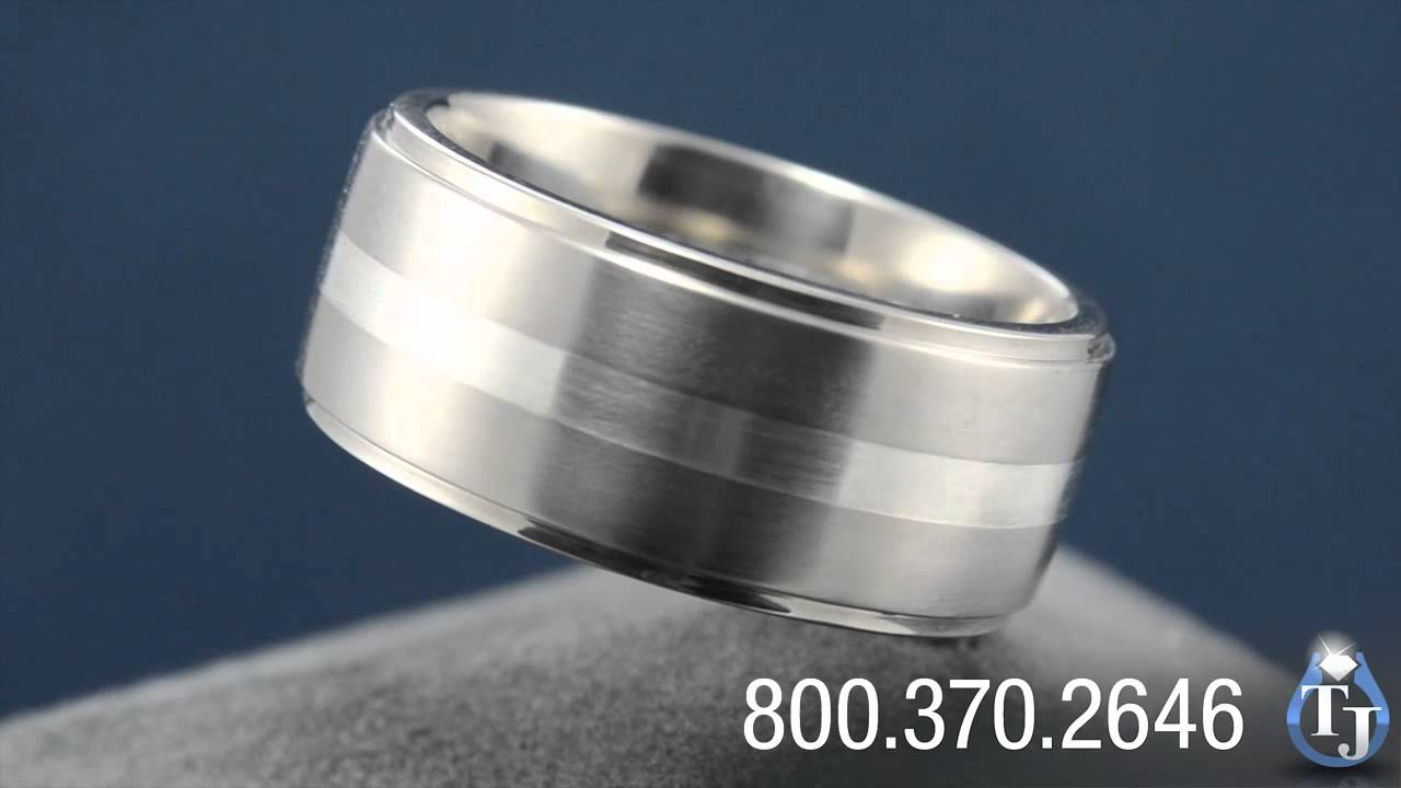 Titanium Mens Wedding Band with Sterling Silver Inlay by Edward