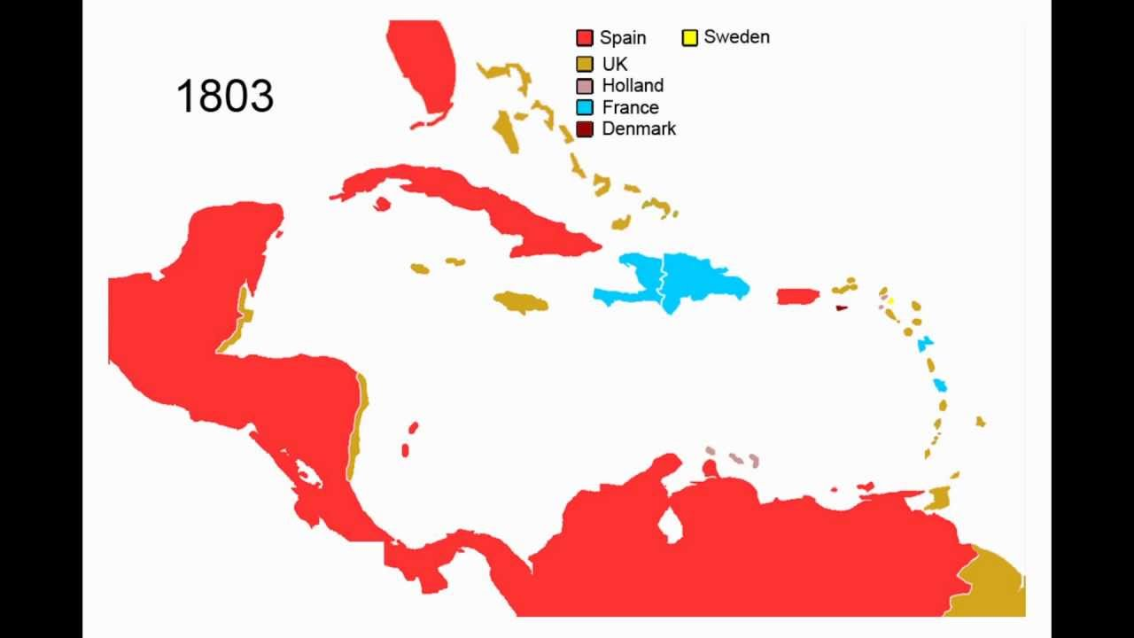 History Of Central America And The Caribbean - Animated Map - YouTube