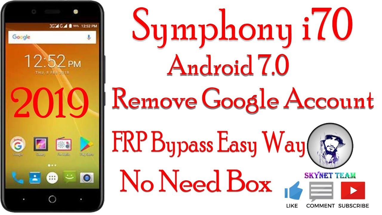 Symphony i70 Android 7 Remove Google Account  FRP Bypass Easy Way