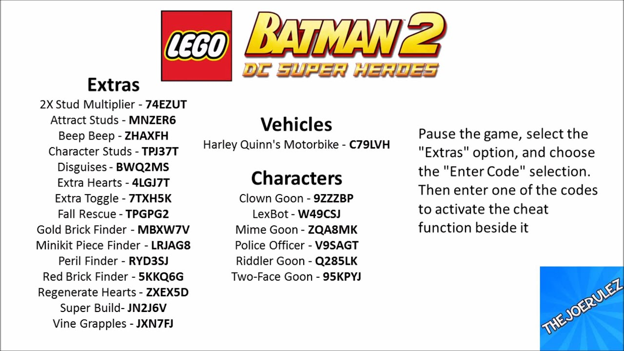 Lego batman 2: dc super heroes cheat codes youtube.