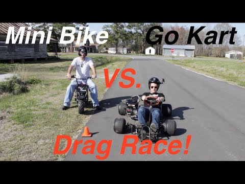 Mini Bike Vs. Go Kart Drag Race!