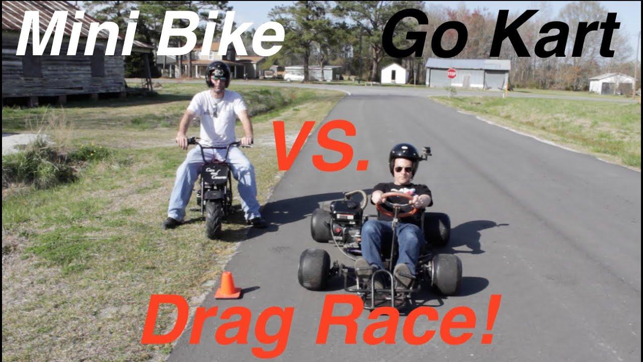 Mini Bike vs. Go Kart Drag Race! - YouTube