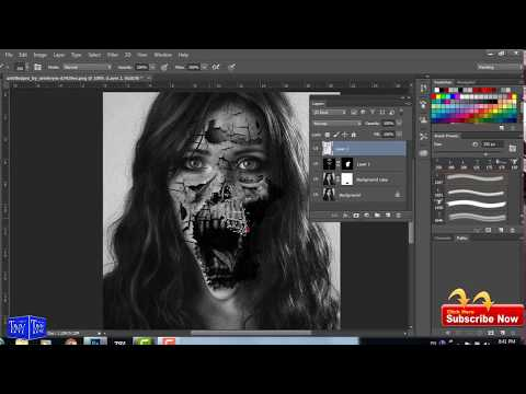 Transform a decent girl Face into a Horror Movie Poster Photoshop Tutorial by vikas shirode
