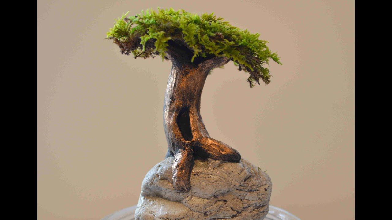 How To Sculpt A Tree On A Rock In Polymer Clay Youtube