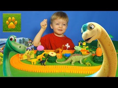 Детям про Динозавров Диплодок Апатозавр Брахиозавр Поезд  Динозавров Видео для Детей Lion Boy