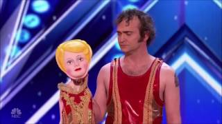 A Man with His Doll Dancing Duo Gets Judges into Fight | Auditions 2 | America's Got Talent 2017