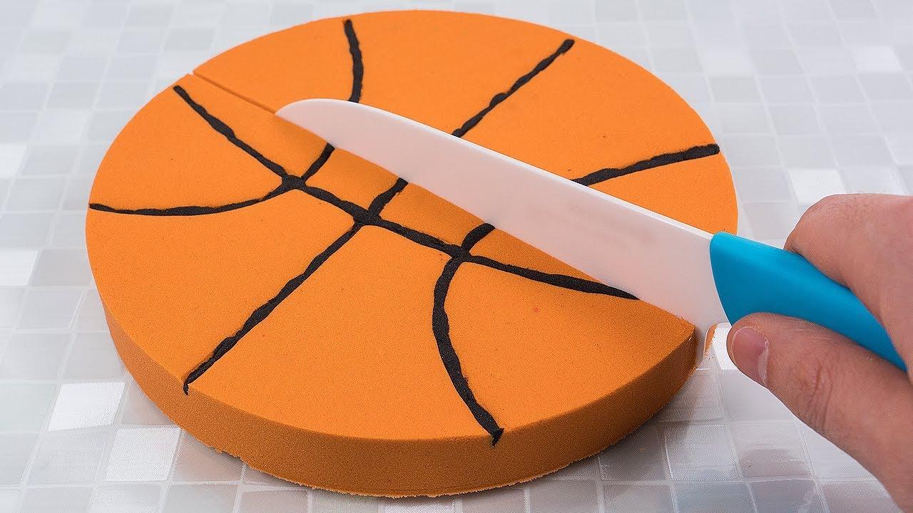 DIY How to Make Kinetic Sand Basketball Cake Cutting Learn Colors