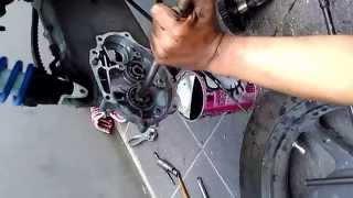 bongkar bearing gearbox honda vario CW pakai kertas dan air