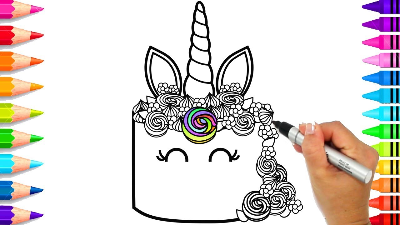 How To Draw A Unicorn Cake For Kids Rainbow Unicorn Cake Coloring