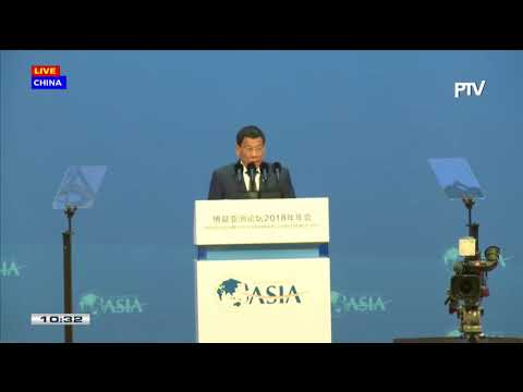 Pres. Duterte delivers a speech in the opening of Boao Forum for Asia