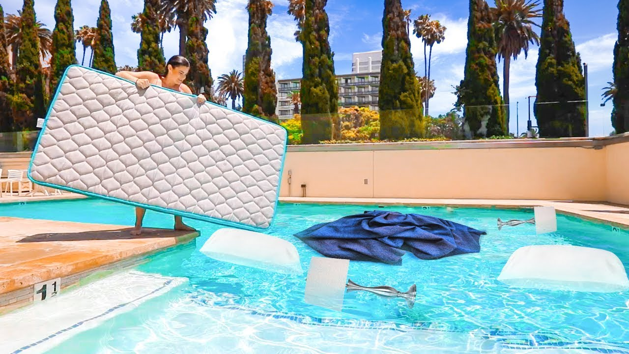 mattress in pool prank