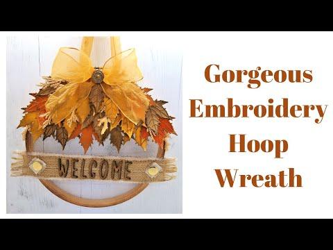 Embroidery Hoop Wreath • DIY Gift Ideas • DIY Home Decor Ideas