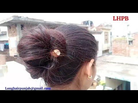 lhpb-rapunzel-mannu-roaming-over-terrace-&-hairstyles-her-hair-into-long-hair-bun