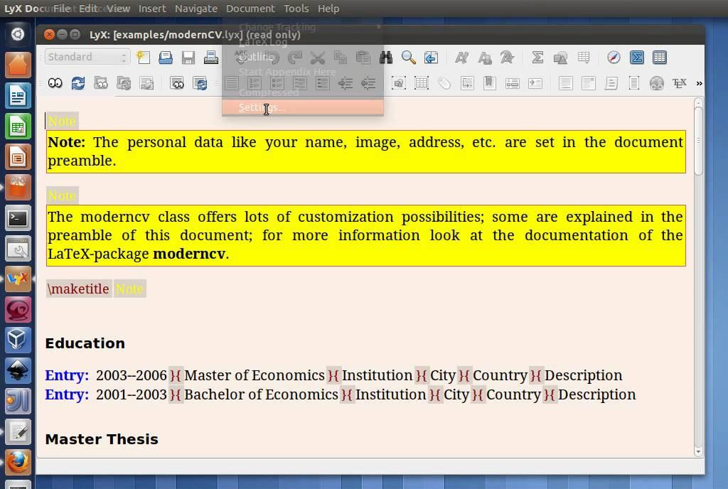 How to use Lyx to write CV on Ubuntu - YouTube