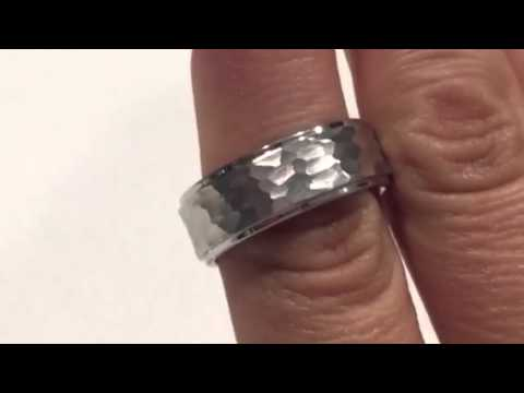 Hammered Tungsten Wedding Band Www Ringsparadise Rings Paradise