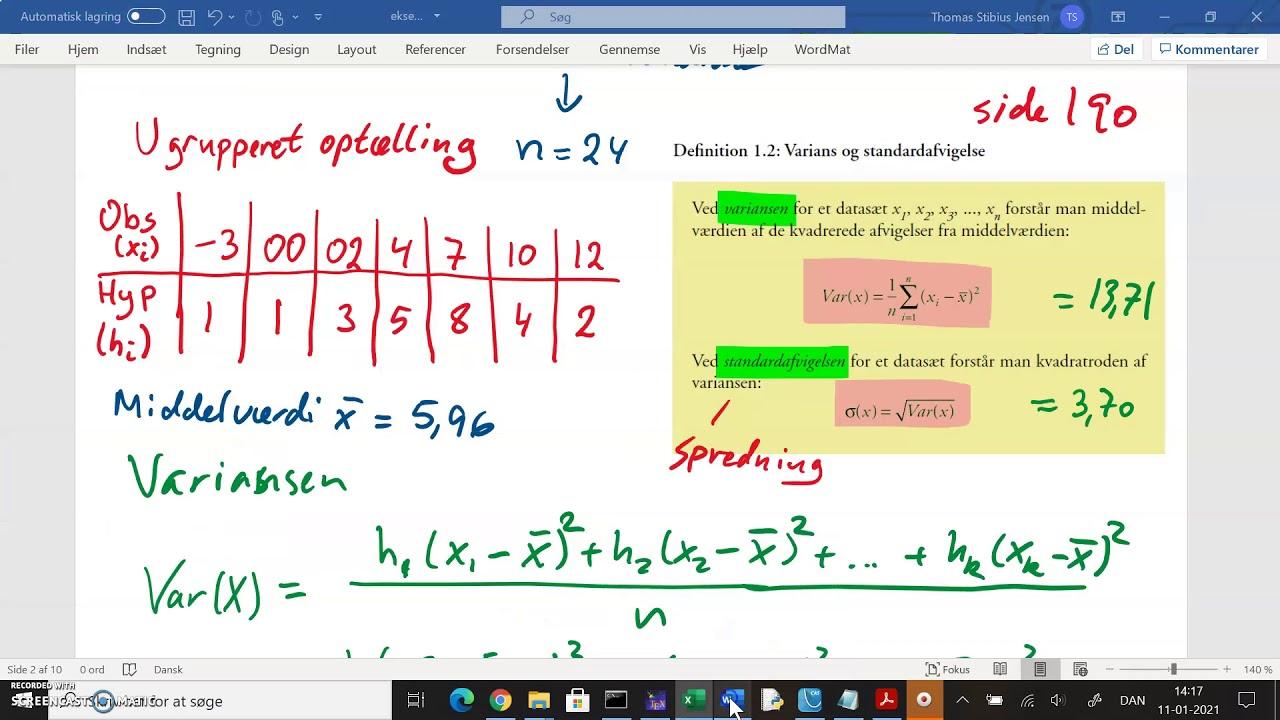 1k 2020 21 v07 deskriptiv statistik ugrupperet statistiske deskriptorer del2 varians og spredning i