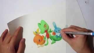 Pokemon drawing - Hoenn Starters