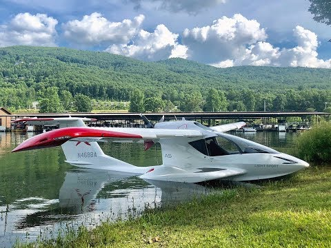 ICON A5 seaplane flying : FL to Lake Chatuge in the Smokey Mountains and Lake Norman in NC for demos
