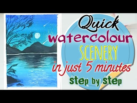 For Beginners Quick Beautiful Watercolour Scenery #purvipaintings #watercolour #landscape