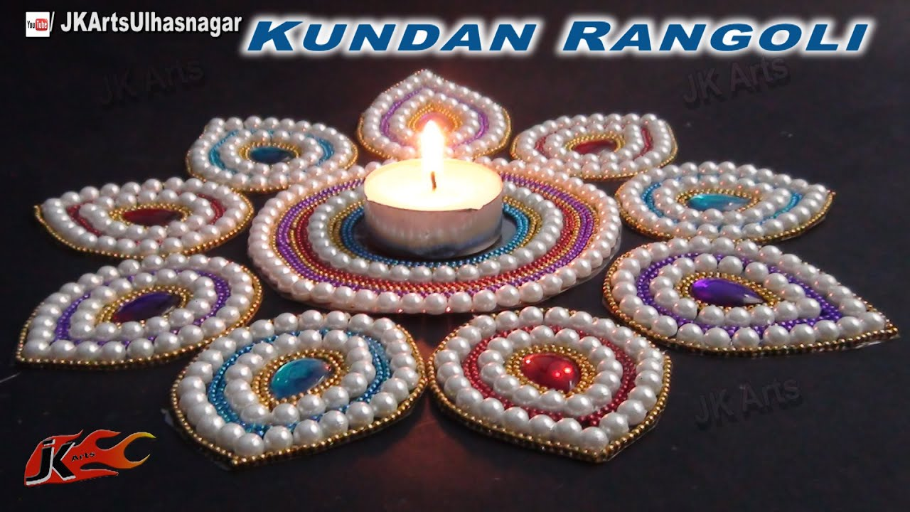 Diy easy kundan rangoli design on ohp sheet how to make for Home made rangoli designs