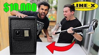 $10,000 If Anyone Can BREAK This SAFE!! (MYSTERY WEAPONS Challenge!!) *UNBREAKABLE LINE-X SAFE*