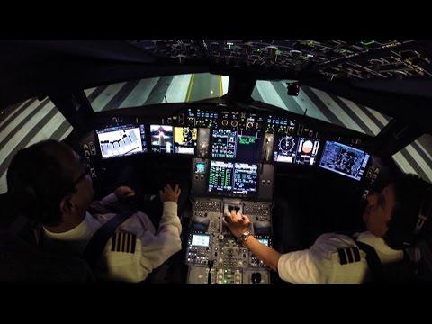 Airbus A350XWB Flightdeck Night Takeoff