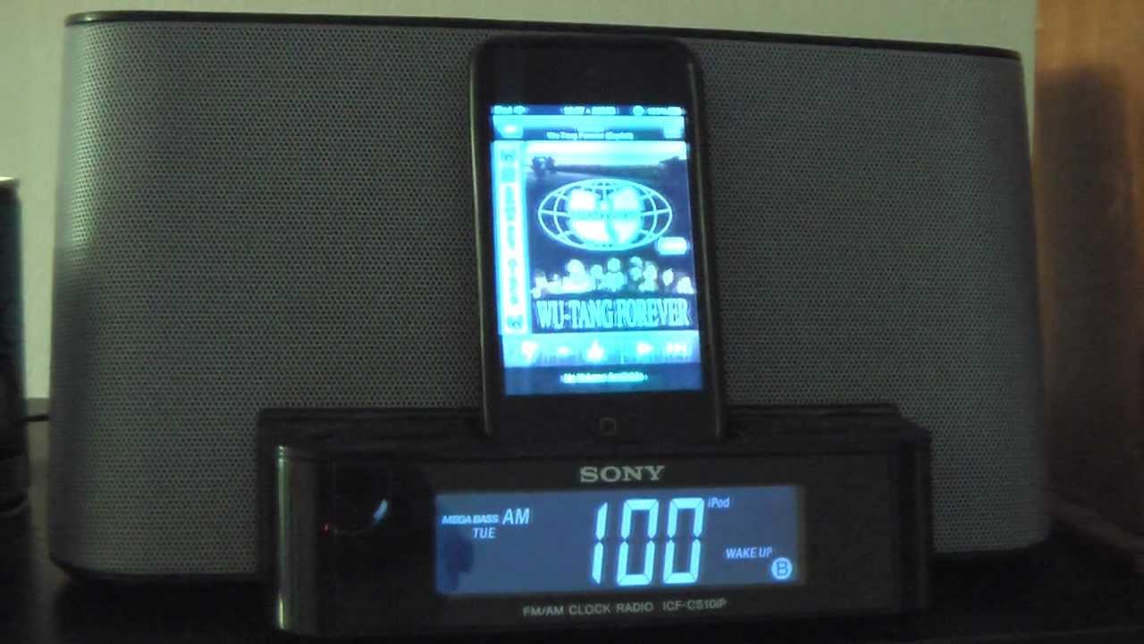 alarm wakeup to ipod touch pandora app using sony ipod dock fm am clock radio youtube. Black Bedroom Furniture Sets. Home Design Ideas