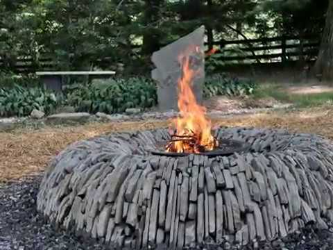 Dry Stone Fire Pit, Vertical stacked, PA Blue Stone - YouTube