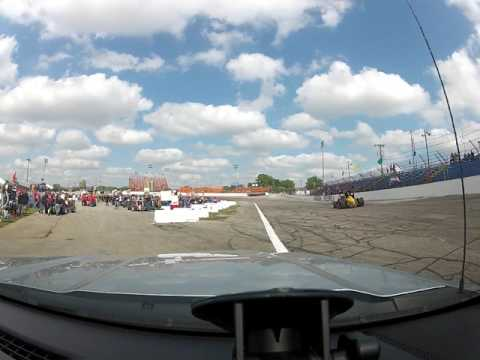 Lawrenceburg Speedway Fire Rescue pushing at the 2017 Little 500 at Anderson Speedway.