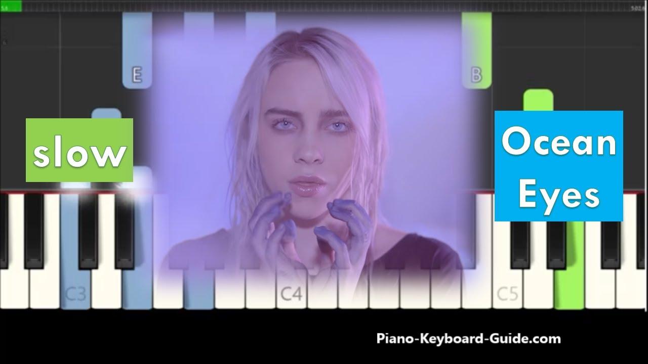 Billie Eilish - Ocean Eyes Slow Piano Tutorial