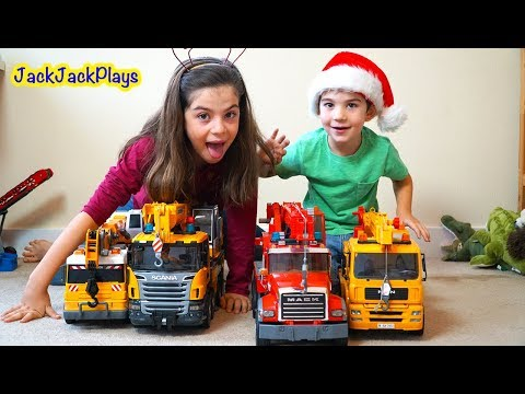 Pretend Play Fishing with Crane Trucks: Playing with Bruder Toys Holiday Edition