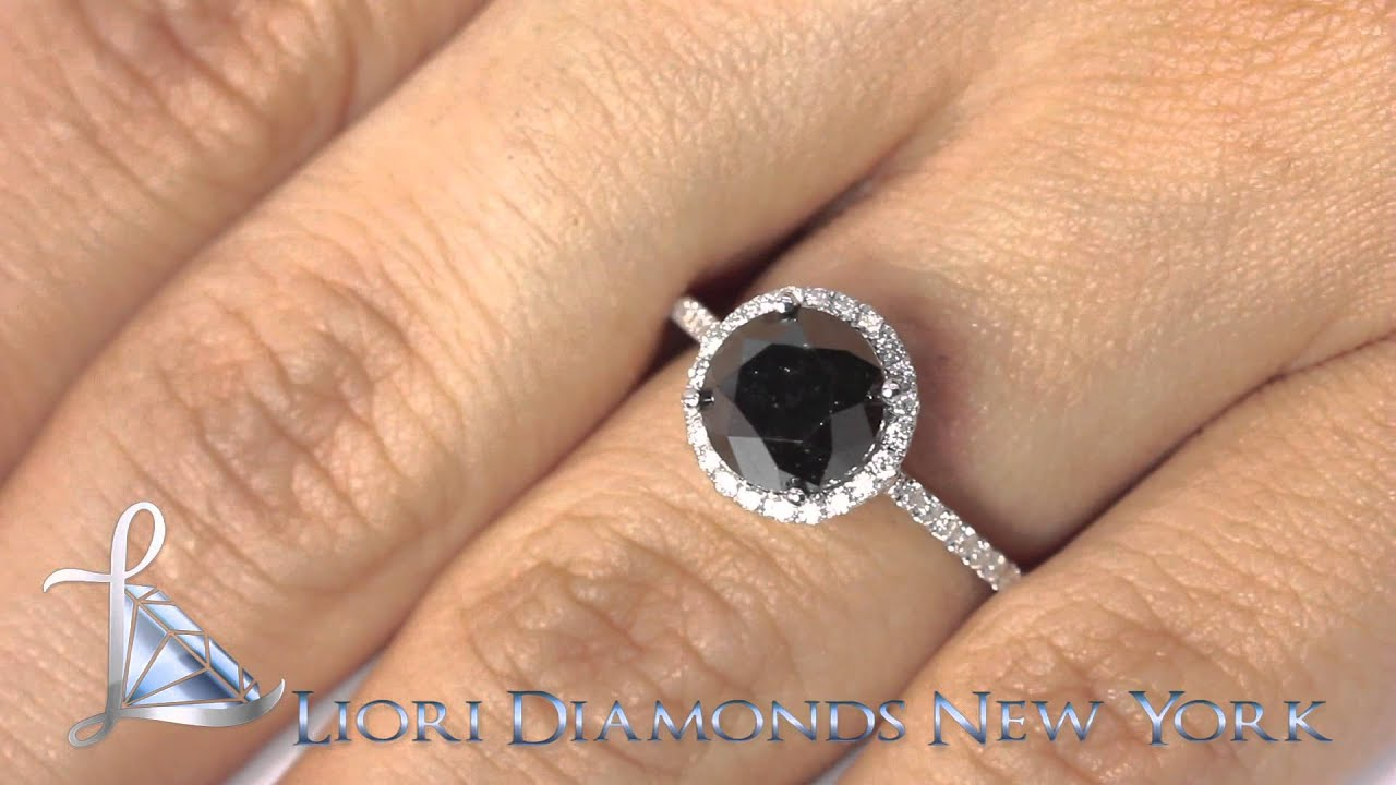 Bdr 001 2 67 Carat Certified Natural Black Diamond Engagement Ring 18k Gold Pave Halo Youtube