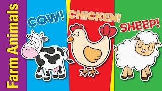Learn Farm Animals for Kids | Video Flash Cards | Kindergarten, Preschool & ESL | Fun Kids English