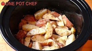 Slow Cooker Garlic Parmesan Potatoes | One Pot Chef