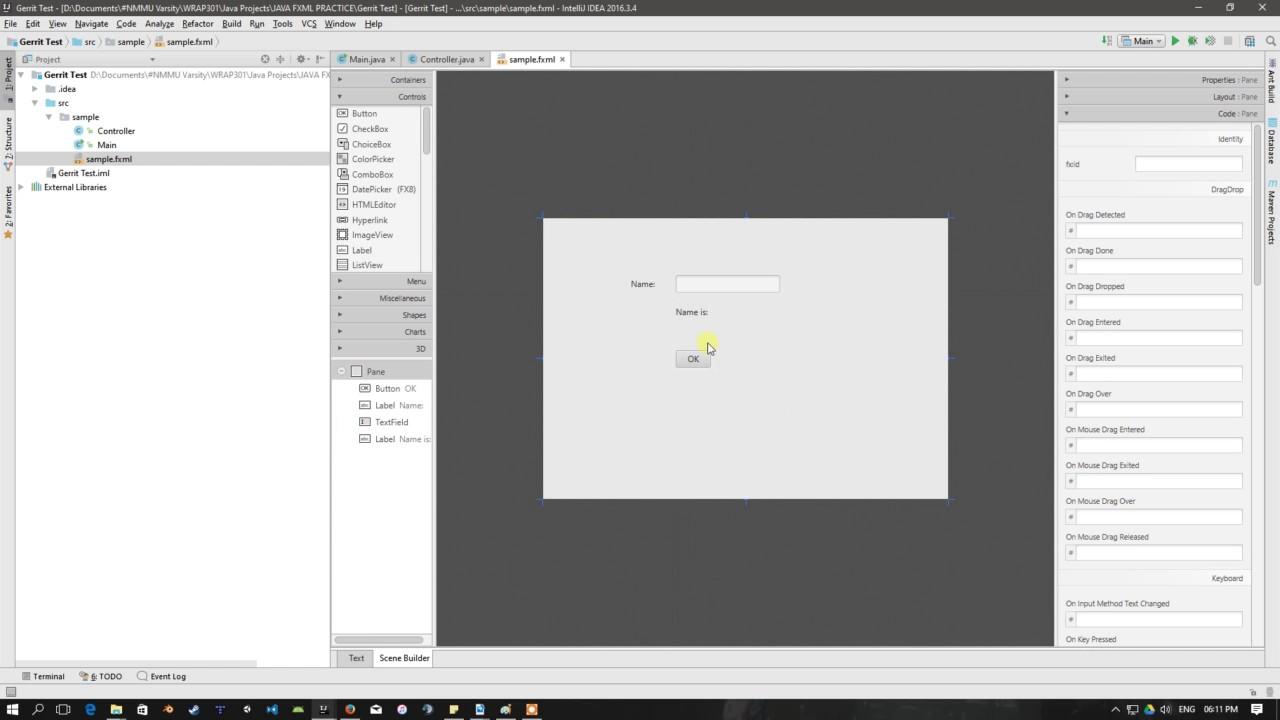 Scen Builder Tutorial IntelliJ Java FXML